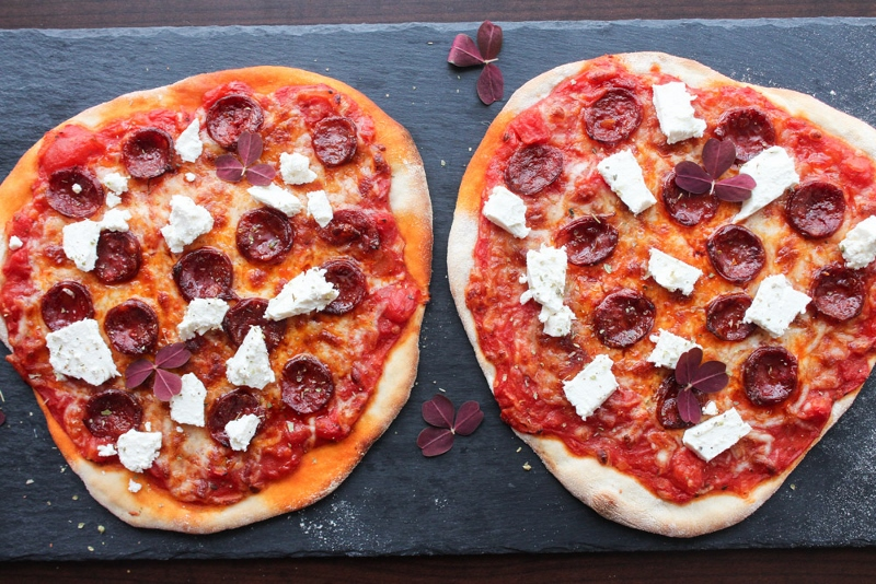 Pizza With Chorizo And Soft Feta Cheese