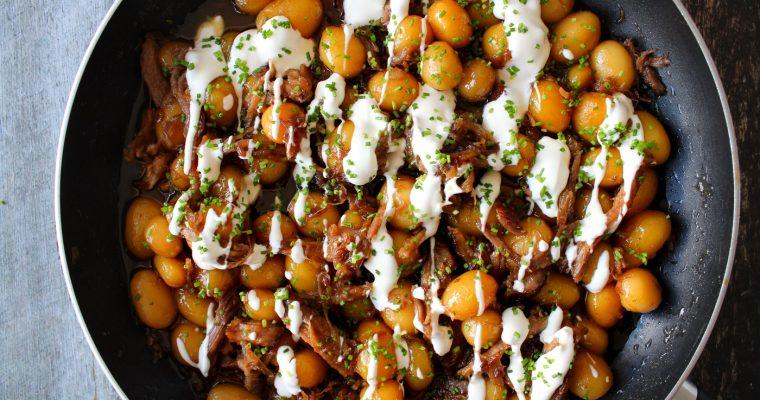 Brunede Kartofler Med Pulled Pork