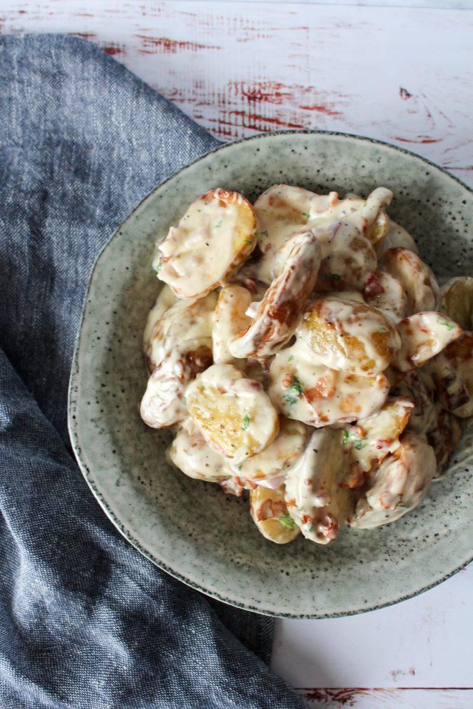Ovnbagte Kartofler I Baconsauce