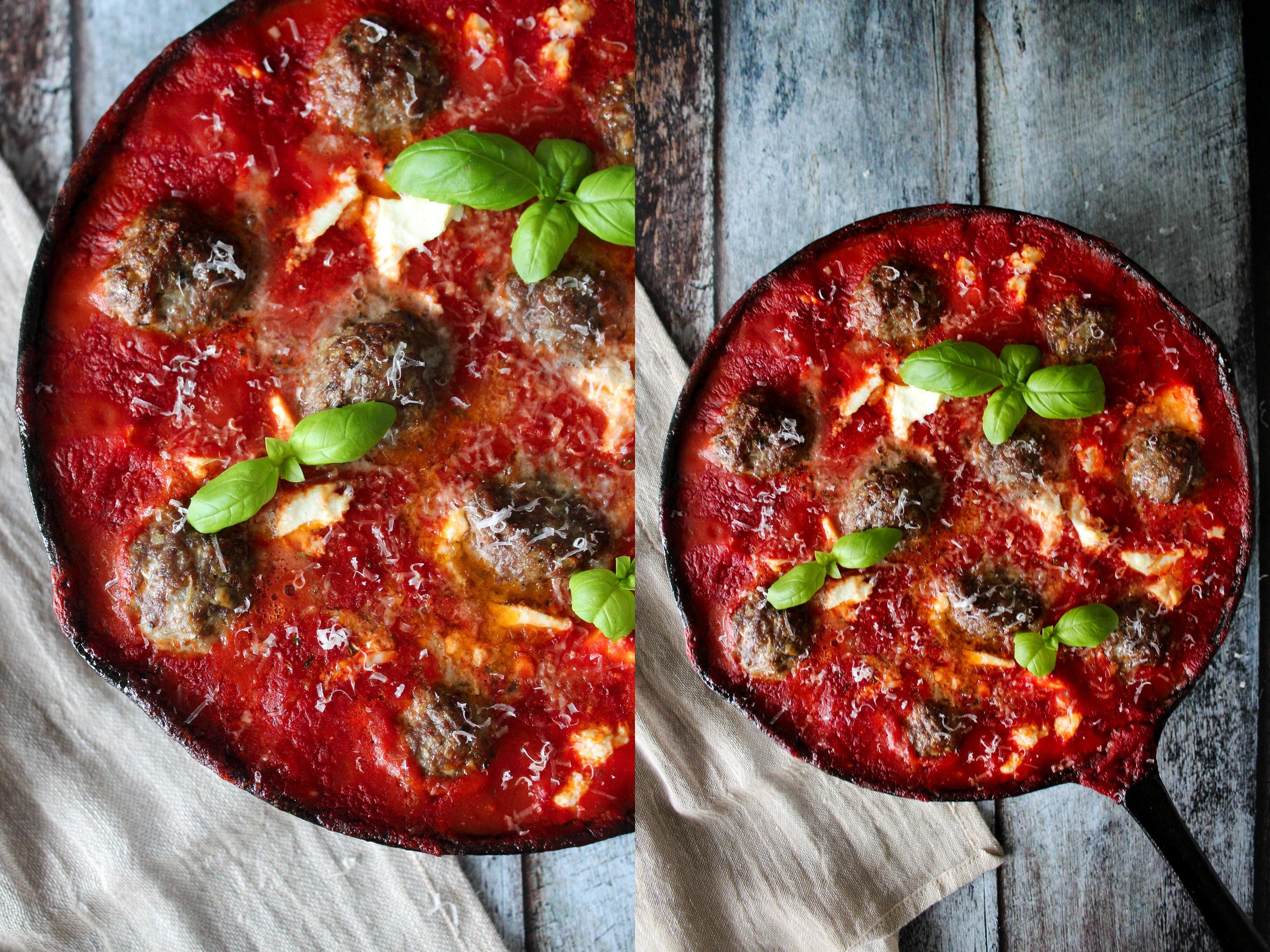 Bagte Kødboller I Tomatsauce Med Ricotta