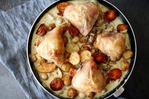 Kartofler Og Kylling I Champignon Bearnaisesauce