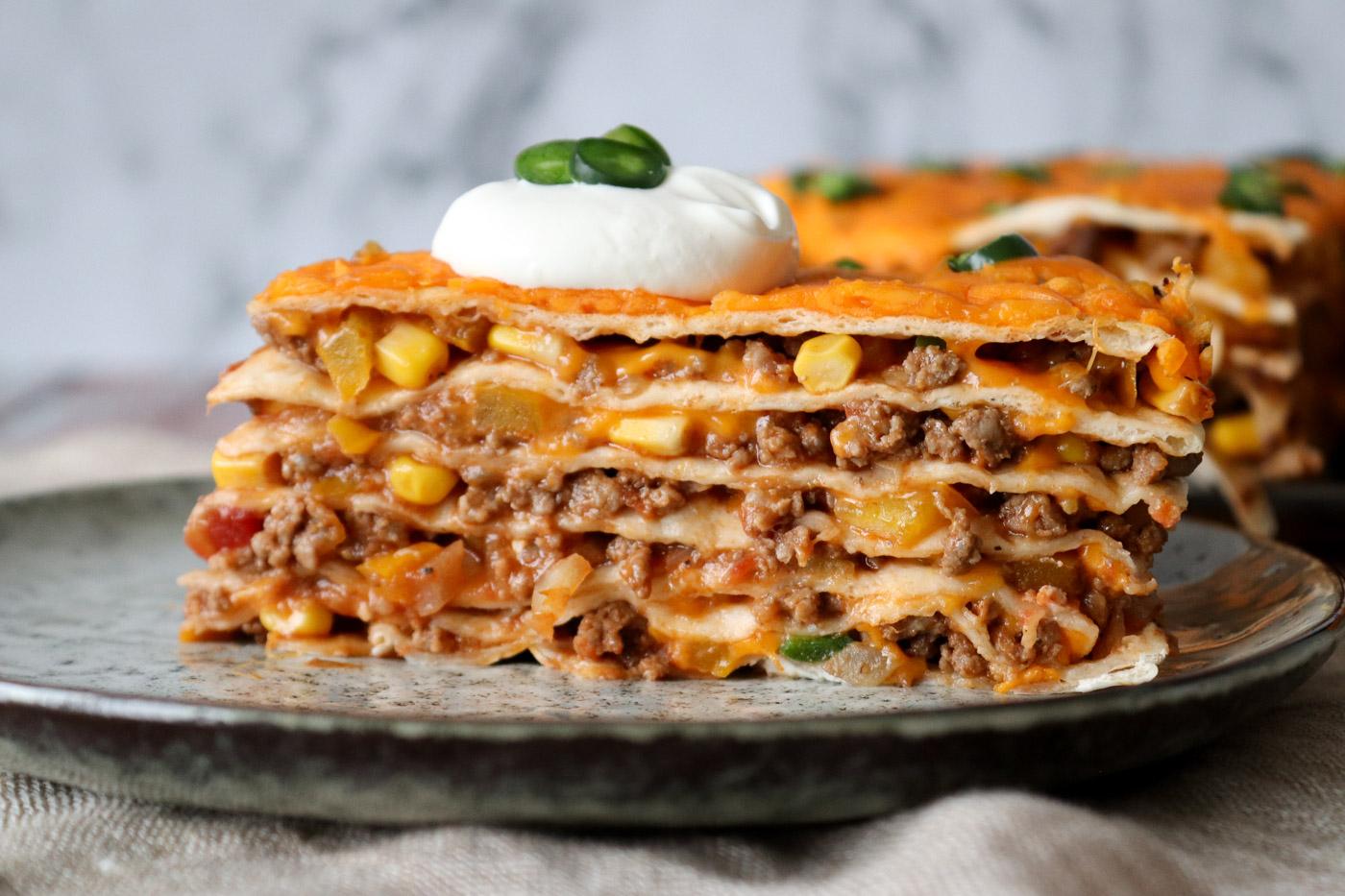 Tortillalasagne Med Oksekød Og Cheddar