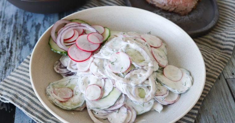 Salat Med Agurk, Rødløg, Radiser Og Dilddressing