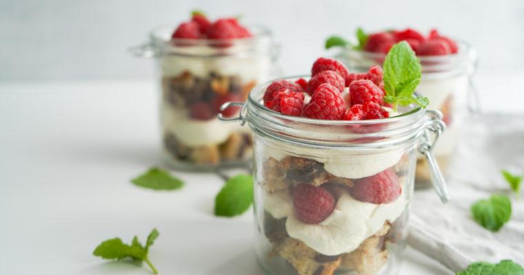 Cheesecake Dessert I Glas Med Banankage