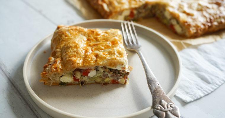 Butterdejstærte Med Oksekød Og Feta