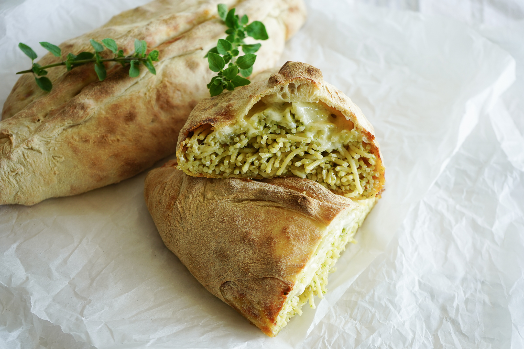 Calzone Med Spaghetti Og Pesto